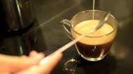 pouring the fresh milk into coffee mocha video