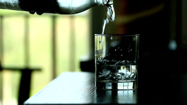 Pouring water into a glass video