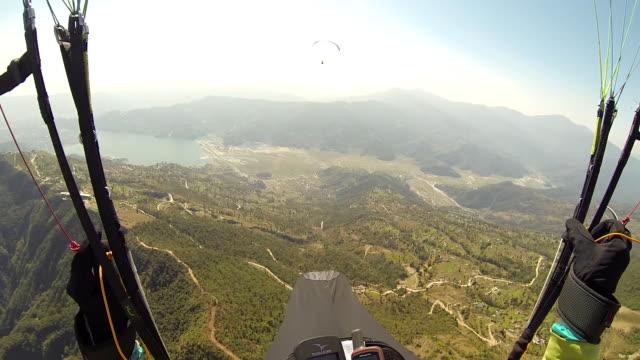 pov Paragliding in the sky Annapurna Pokhara, Nepal, Himalayas video