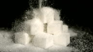 Powdered sugar falling onto cubes video