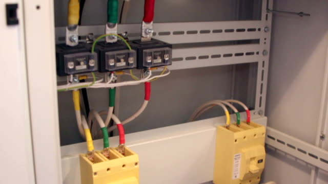 Power cable in the electrical cabinet video