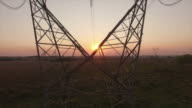 Power Line and sunset video