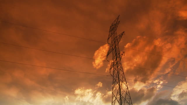 Power lines at sunset video