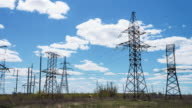power lines. Electric high-voltage supports. Transmission of electricity by wire video