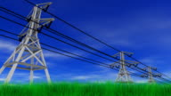Power Lines, Grass and Blue Sky video