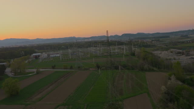 AERIAL Power lines in the countryside video
