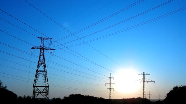 Power Lines on sunrise I. video