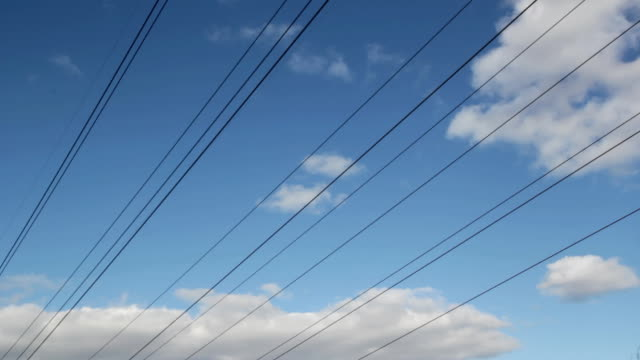 Power lines with gentle timelapse. video