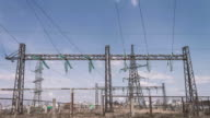 Power plant against the sky with clouds. High-voltage substation. Risk of electric shock. Distribution and transportation of electricity. Pure renewable energy video