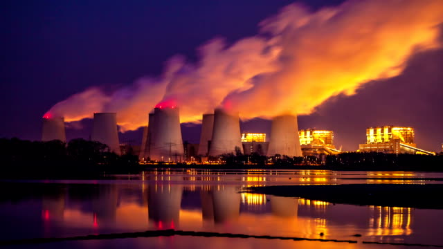Power plant at night video