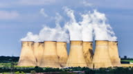 Power plant chimneys pollution closeup video
