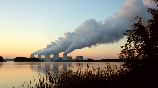 Power Plant in the sunrise - Time Lapse video