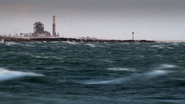 Power Station Near Ocean During Storm video