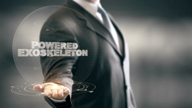 Powered Exoskeleton with hologram businessman concept video