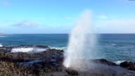 SLOW MOTION: Powerful ocean wave splashing through blowhole at rocky seashore video