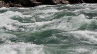 Powerful river rapids. Closeup. video