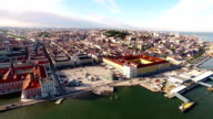Praca Commercio Lisbon aerial view from river video
