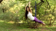 Practice of anti gravity fly yoga with hammock video