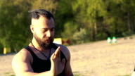 Practicing of wing chun with master on nature. Slowly video
