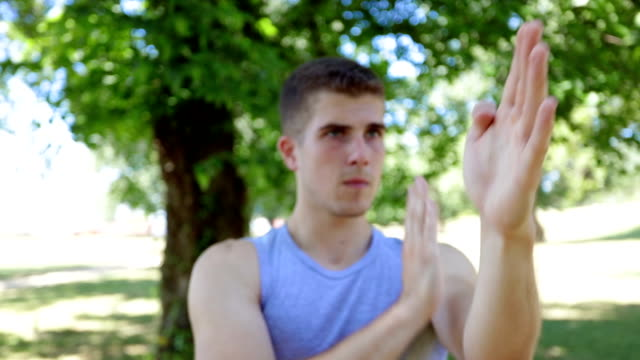 Practicing wing chun in the public park, hand technique video