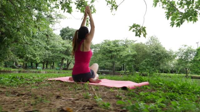 Practicing Yoga In Public Park video