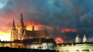 Prague castle at night - time lapse video