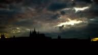 Prague the Castle stormy dusk video