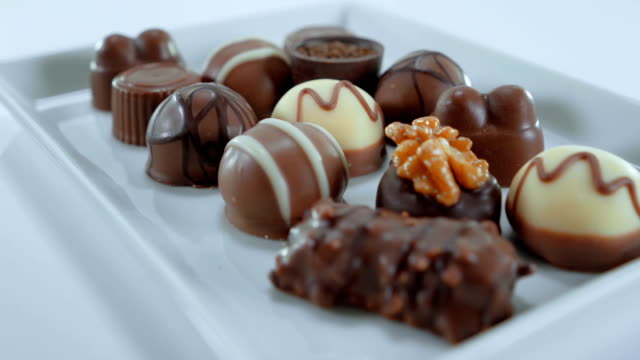 Pralines and chocolates - a variety of sweets video