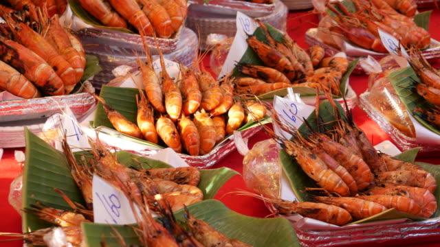 Prawns, Street food in Bangkok video