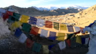 prayer flag and Shanti Stupa, Leh, Ladakh, India video