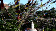 Prayer flags blown by the wind video