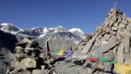 Prayer Flags on a Mountain Summit, Nepal video