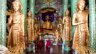 Praying monks at Schwedagon pagoda video