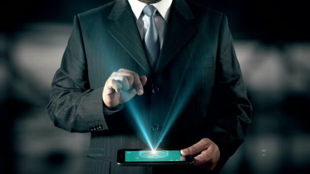 Precious Metals investment Success Concept Businessman using digital tablet technology futuristic background video