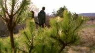 A precious romantic couple in a pleasant walk video