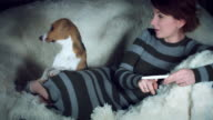 4K Pregnant Woman Shows her Puppy Positive Pregnancy Test video