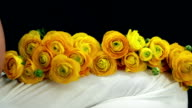 Pregnant woman with yellow roses video