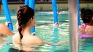 Pregnant women at aqua aerobics video