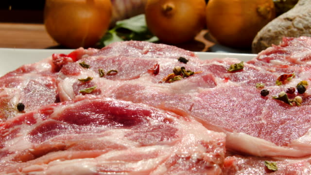 Preparation of a steak with salt and spices video