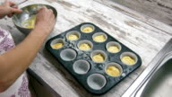 Preparation of cake. With spoons laid out the dough on the cake pan. Close-up. video