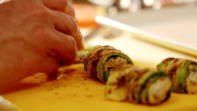 Preparation of rolls. The action in the kitchen. Food preparation video