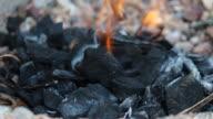 prepare coal to burning before grill tuna video