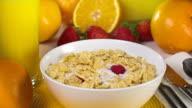 Preparing Breakfast Cereal Slow Motion video