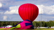 Preparing hot air balloons to flight video