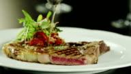 Preparing Meat Dish in Luxury Restaurant, Close-Up. video