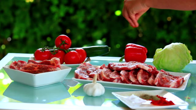 Preparing meat for steak. video