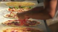 Preparing Pizzas Close-up video