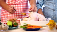Preparing Turkey for Thanksgiving Dinner video