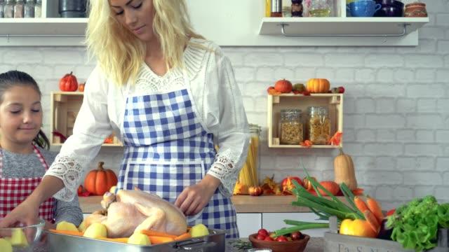 Preparing Turkey for Thanksgiving Dinner video