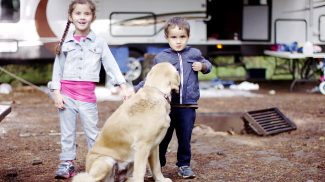 Preschool Children Camping with Dog video
